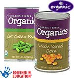 Harris Teeter Organics Corn, Peas or Green Beans      / 14.5 -15.25 oz Save at Least$2.45 on 5 / <span class='coupon-offer'>5/$5</span>