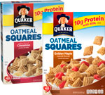 Quaker Toasted Oatmeal Squares Cereal      / 14.5 oz Item Rings atHalf Price / <span class='coupon-offer'></span>