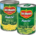 Del Monte Corn, Peasor Green Beans      / 14.5-15.oz Save at Least$5.90 on 10 / <span class='coupon-offer'>10/$8</span>