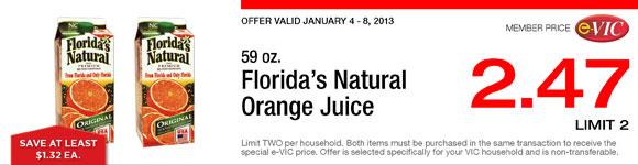 Florida's Natural Orange Juice - 59 oz : eVIC Member Price - $2.47 ea - Limit 2