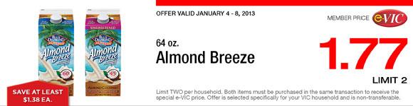 Almond Breeze - 64 oz : eVIC Member Price - $1.77 ea - Limit 2
