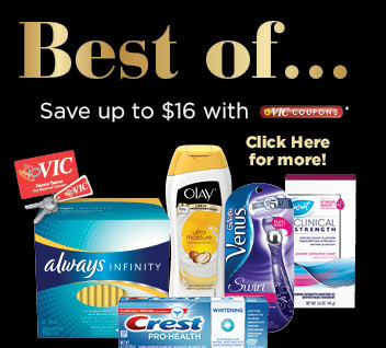 Experience the Best of… these P&G products and save up to $16 with eVIC coupons! Click here for more.