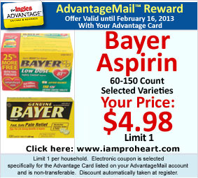 Bayer Aspirin, 60-150 Count - Selected Varieties, AdvantageMail Price: $4.98, Limit 1
