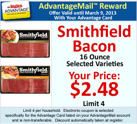 Smithfield Bacon, 16 Ounce - All Varieties, AdvantageMail Price: $2.48, Limit 4