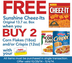 FREE Sunshine Cheez-Its when you Buy 2 Corn Flakes and/or Crispix!