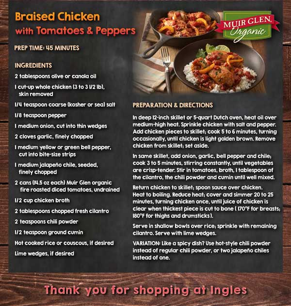 Recipe - Braised Chicken with Tomatoes & Peppers